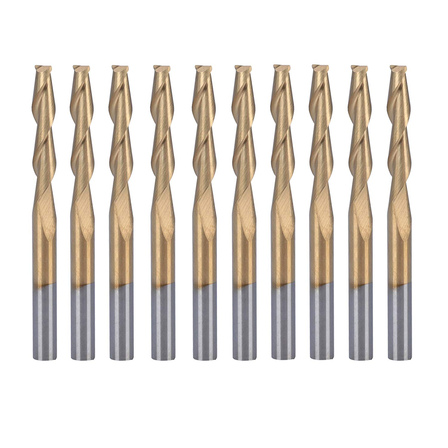 "HQMaster 10 Pack 1/8""(3.175mm) Shank Dia. Titanium Coated End Mill Spiral Router Bits Milling Cutter 2-Flute CNC Upcut Cutting Engraving Bit Tungsten Steel Tool Set 38.5mm OAL (3.175 x 17 x 38.5 mm)"