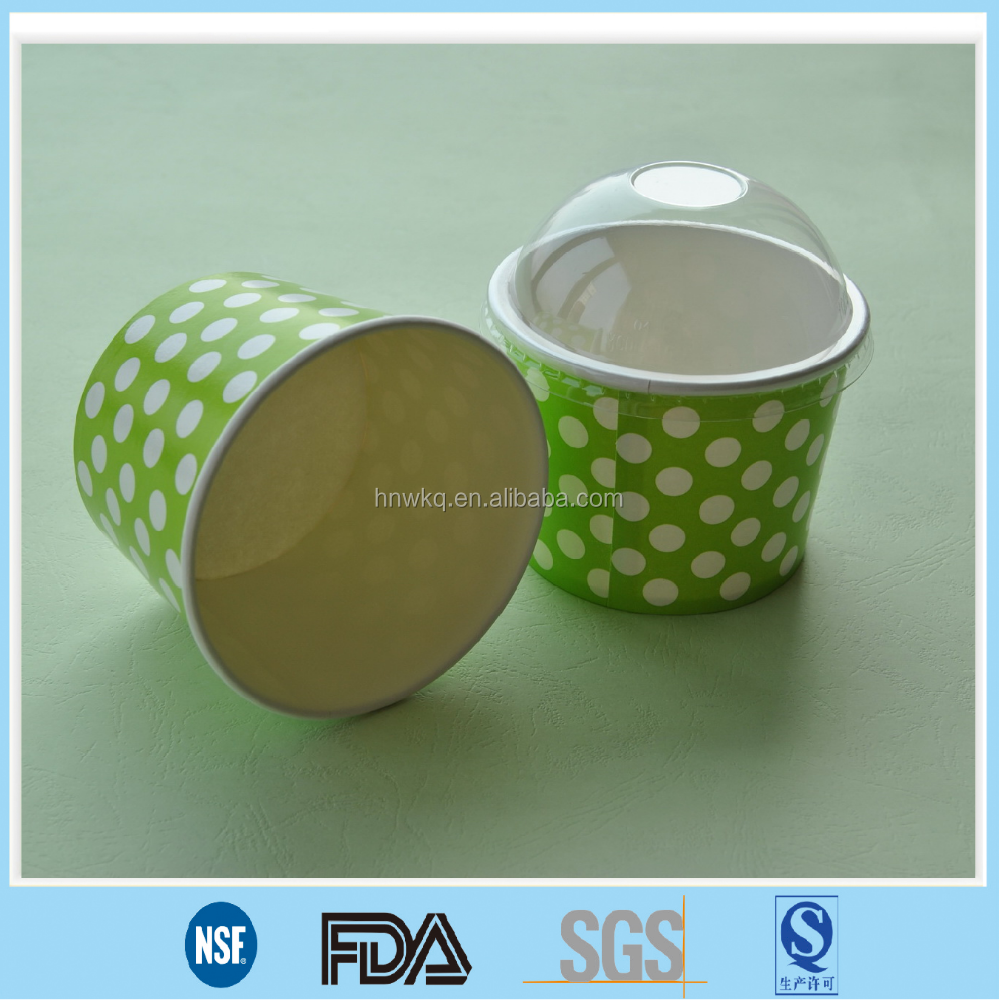 disposable paper ice cream bowl with plastic dome lid