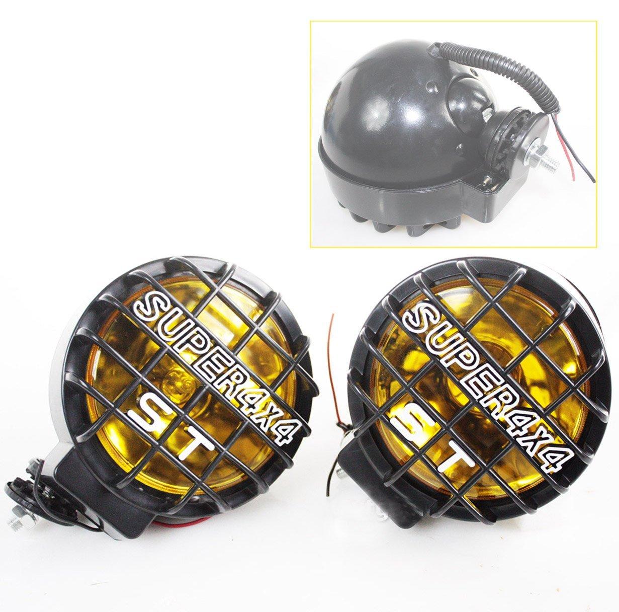 LOT OF 2 12V AMBER HALOGEN FOG LIGHTS LAMPS LIGHT 4X4 OFF ROAD W/ BLACK COVER
