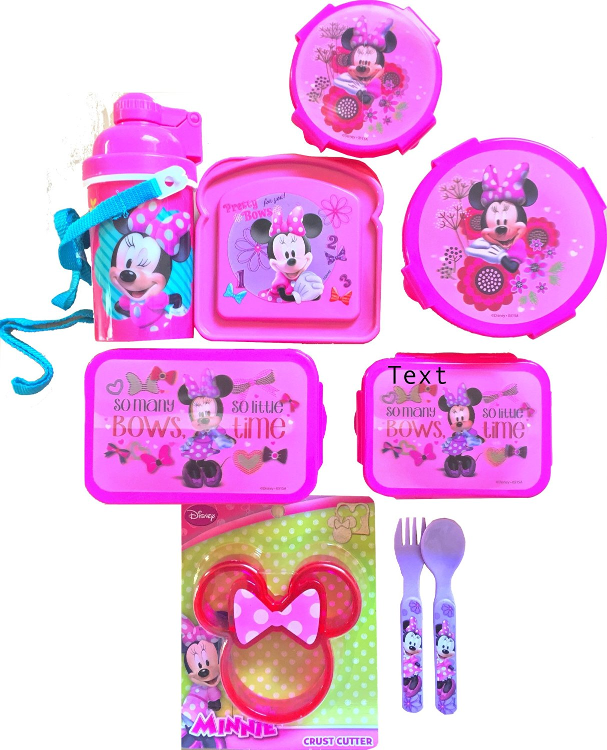 Minnie Mouse 9Pc Children's Lunch Gift Set With Snack & Food Storages, Bottle, Crust Cutter & Utensils