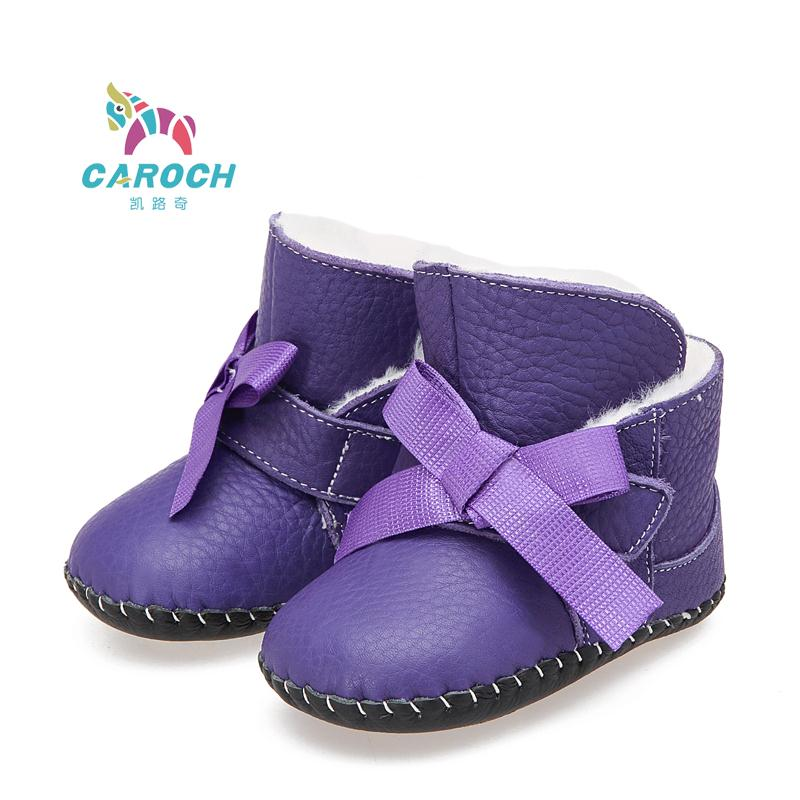 2b1cb9953527f Get Quotations · Genuine leather bow baby snow boots 0-2years old girl infant  winter warm shoes soft