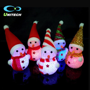Wholesale cheap Colorful xmas Mini ornaments acrylic led lighted snowman christmas decoration