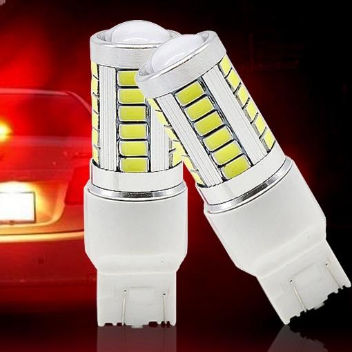 2 шт. W21 / 5 Вт 7443 T20 кри 33 из светодиодов 5630 5730 СМД автомобиля задний фонарь стоп луковицы авто стоп-сигналы противотуманные фары красный белый желтый 2X