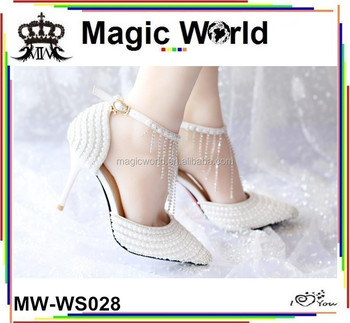 9cm low heel flat white pearls elegant tassel wedding sexy bridal shoes 9c7c6179af