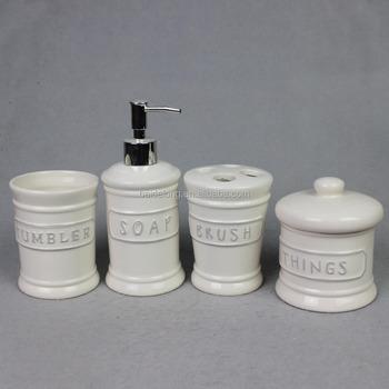 Emboss Ceramic Bathroom Accessory Set W