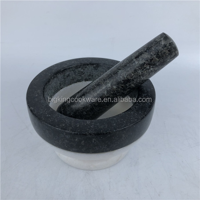 Antique Mortar and Pestle White Marble Molcajete Spice Grinder Grinding Bowl