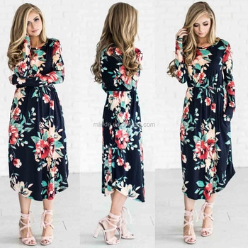 37fa374ff7b5 Navy Floral Multi color Round Neck Dress Summer And Trending Outfits Flared  Midi Dress latest dress