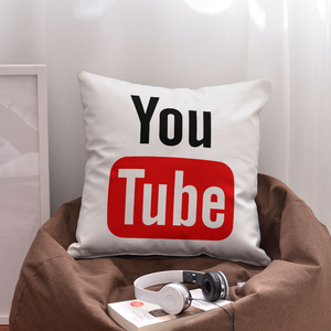 "YouTube 16"" 18"" 20"" Square Cotton Polyester Blend Sublimation Blank Decor Chair Sofa Couch Pillow Case Cushion Cover"