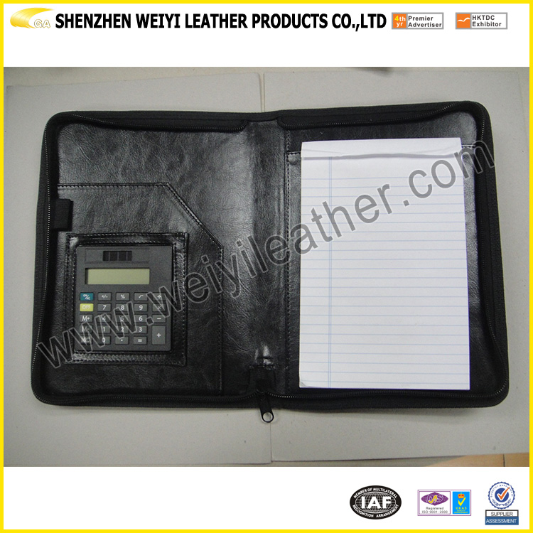 A5 Customized Zipper Closure Leather Agenda Planner With Calculator,Shenzhen Manufacture