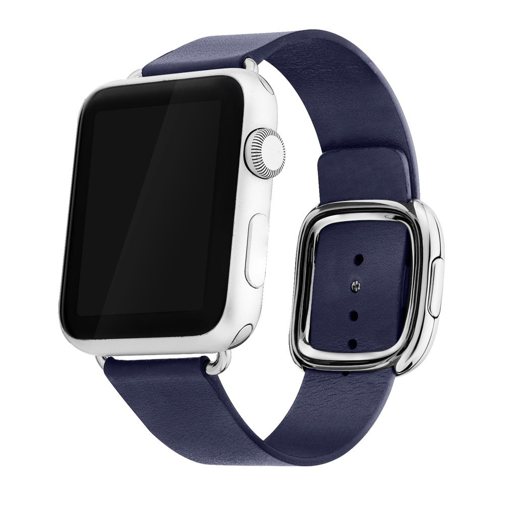 Apple Watch Band 38mm Series 1/Series 2, Bandkin Large Modern Buckle Band with Genuine Leather Strap for iWatch (38mm Midnight Blue)