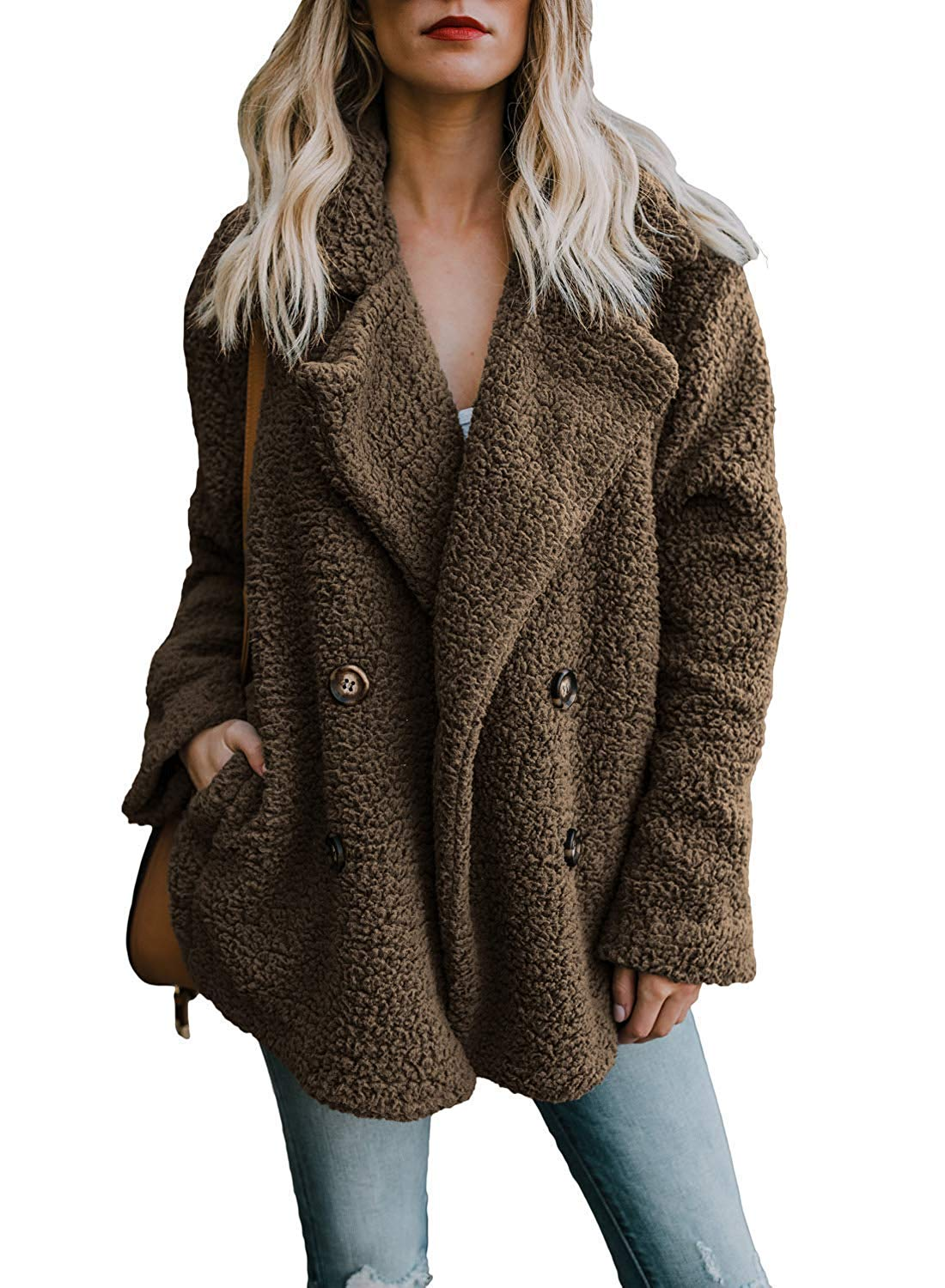bebc910387a Get Quotations · OLIVE TREE Womens Fleece Open Front Cardigan Coat Jacket  with Pockets Outerwear