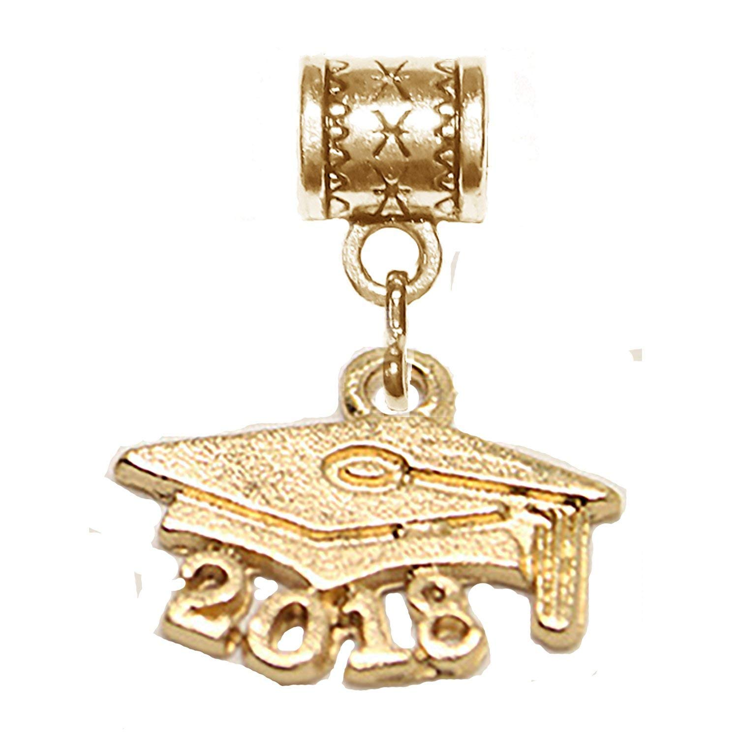 """Mossy Cabin """"Graduate 2018 charm"""" gold hanging charm for large hole style snake chain charm bracelets, neck chains or key chains."""