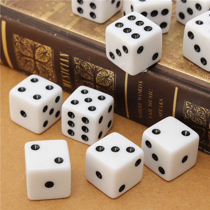 Set of 10,Black Dice,D6,six-side 16 mm black with white pips dice,1.6CM,plastic