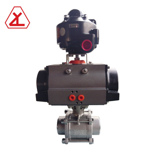 3pc stainless steel ball valve double acting pneumatic actuator with limit switch