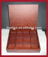 12 compartments wooden tea box with walnut veener