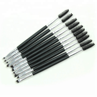 New arrival Private Label Double End Makeup Brush Mascara Band And Eye Brow Black Handle Brush