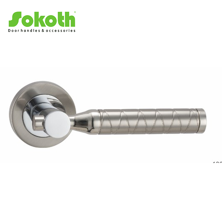 Double finish color CP and SN metal alu round door handle