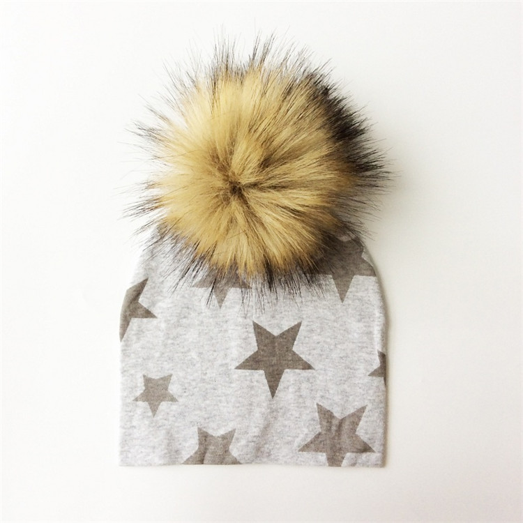 Latest beanie cotton fur ball winter acrylic star printed children knit hat