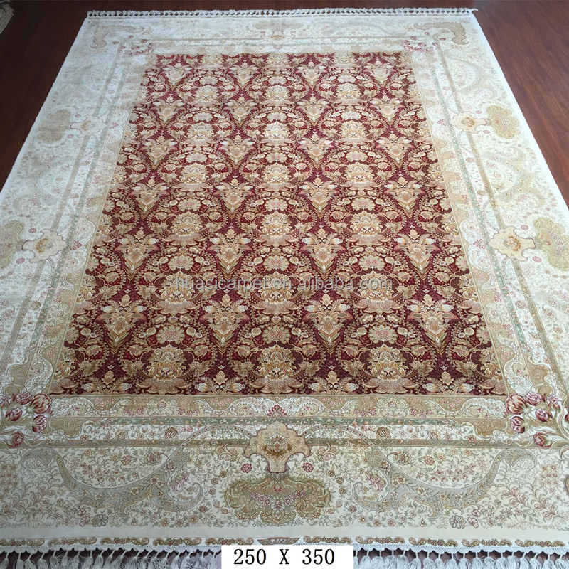 Red Silk Area Carpet Rugs Hand Woven