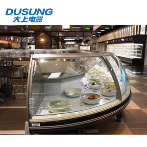 User-friendly design commercial countertop curved glass display case