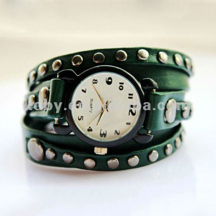 Fashion Stone Studded Leather Wrap Bracelet Watch Las Cord Product On