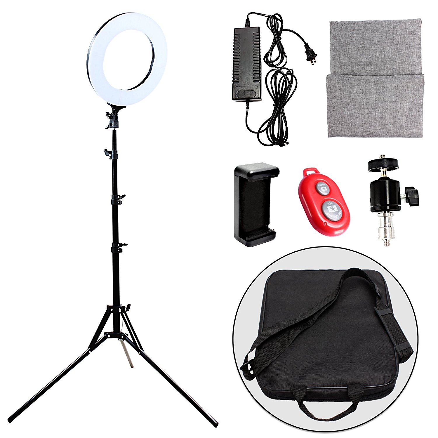 LED Ring Light 14-inch Diameter with 2m Tripod Stand,PRUNLLA 60w Bi-color 2700-5500k Dimmable LED Ring Lamp for Beauty Facial Shoot,Youtube,Facebook,Live Stream,Make-up artist