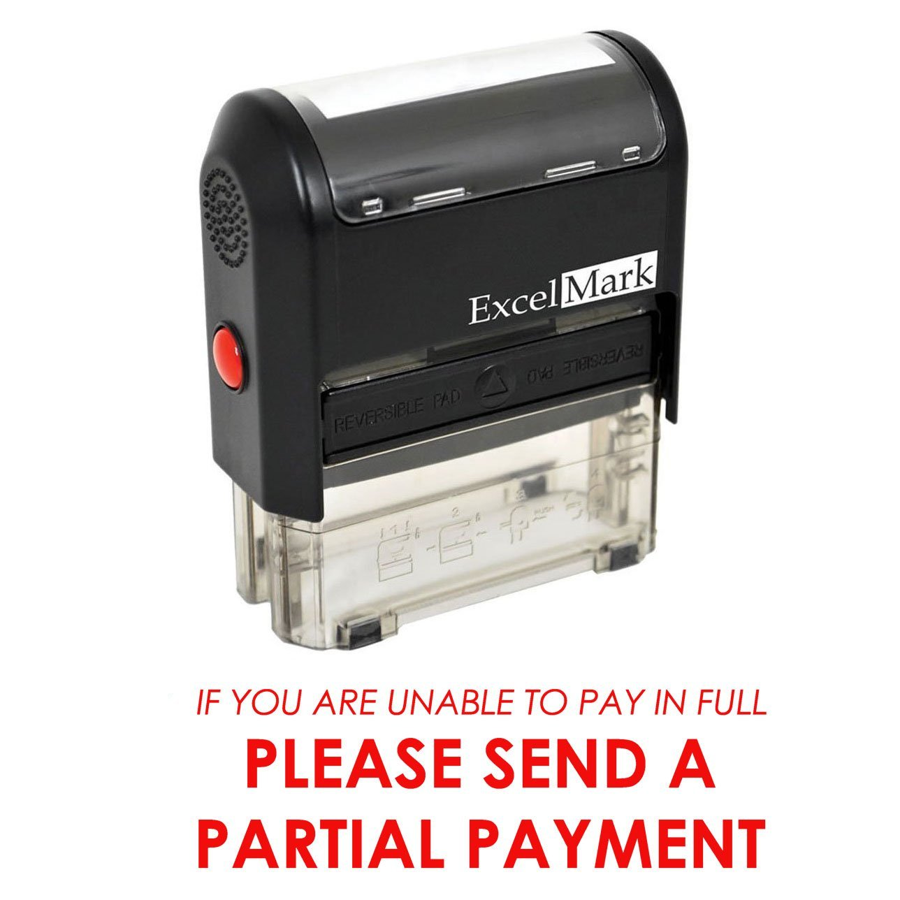 PLEASE SEND PARTIAL PAYMENT - Self Inking Bill Collection Stamp in Red Ink