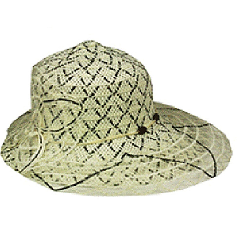 SILVERFEVER Silver Fever Women Summer Fancy Sun Hat Fits All (Black & Beige)