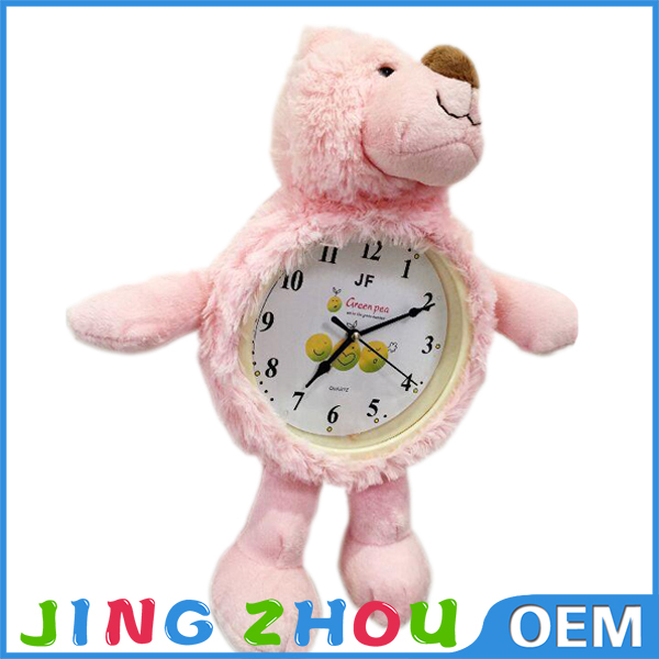Cheap home decoration stuffed plush animal alarm clock for sale