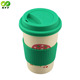 Wholesale bulk bamboo fiber reusable coffee cup with lid sleeve