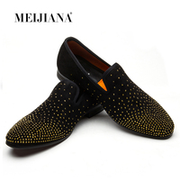 MEIJIANA Men Black Shoes Loafers 2018 New Suede Leather Luxury Brand Drilling Fashion Men's Flats Male Prom Wedding Party Shoes