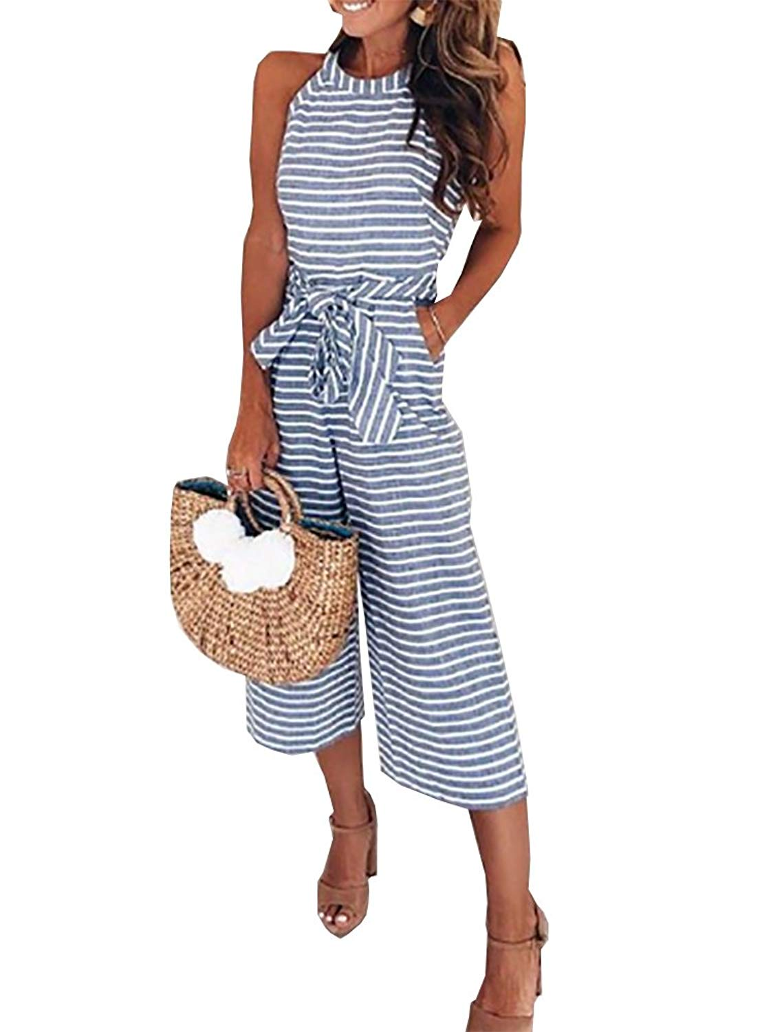 f117d8358a95 Get Quotations · Women Long Pants Jumpsuit Black White Striped Sleeveless Wide  Leg Capri Jumpsuits with Bow