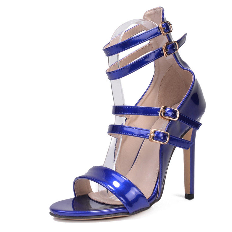 48dd133a785 Get Quotations · Furnitureed Buckle Gladiator Sandals Women High Heels  Catwalk Sandals Summer Shoes Leather Feminina