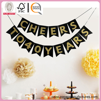 Well-liked Cheers To 40 Years Banner - Happy 40th Birthday Banner - 40th  BF77