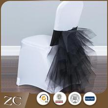 Factory sale nomal chiffon party fancy ruffle wedding chair sashes