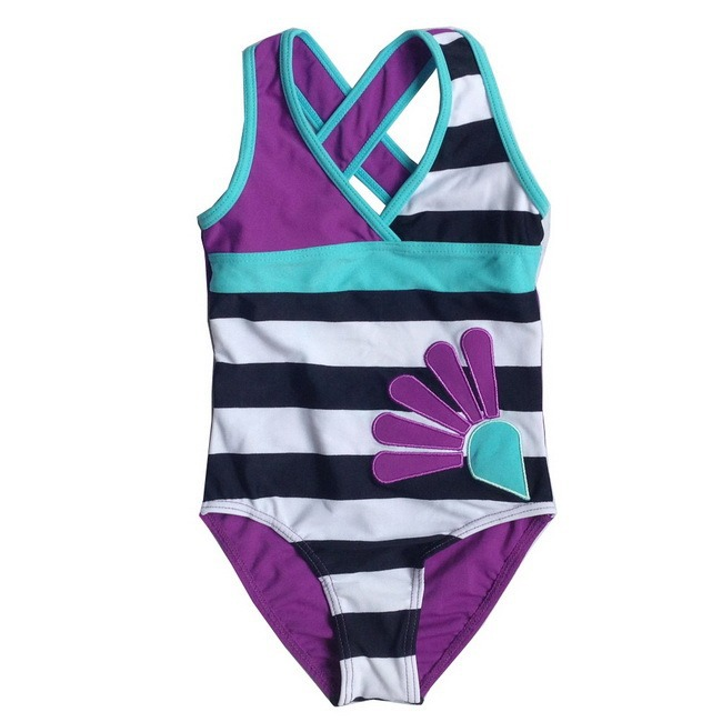 a4d90a4eff85a Get Quotations · Children baby girls purple white black striped one pieces  swimsuit swimming costume 3-10T kids