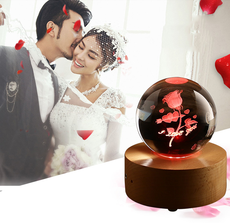 DILU Personalized 3D engraving K9 Crystal Glass Ball with Rotating bluetooth LED base for wedding souvenirs guest Holiday Gifts