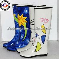 Umbrella design Handmade rubber Rain boots wholesale for women