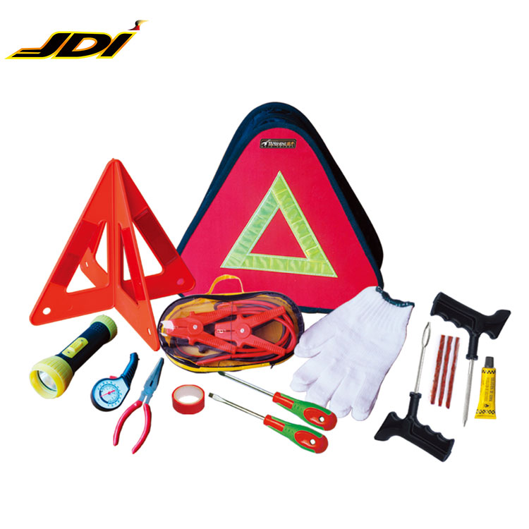 Roadside Assistance car emergency tool kit,Tire pressure gauge,Sharp-nose plier,Warning triangle,electrical tape,working gloves