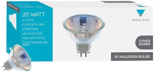 Triangle Bulbs T10146-10 (10 pack) - Q20MR11/FL/CG, 20 Watt, MR11 With UV Glass Cover, 12 Volt, G4 Bi-pin Base, Halogen Flood Light Bulb, 10 Pack
