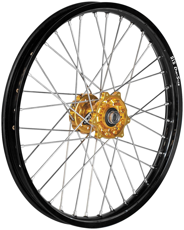 QTM/Brembo Offroad/ATV Complete Rear Wheel - Gold Talon Hub/Silver DID Dirtstar Rim - 2.15x19 , Position: Rear, Color: Gold, Rim Size: 19 56-4125GB