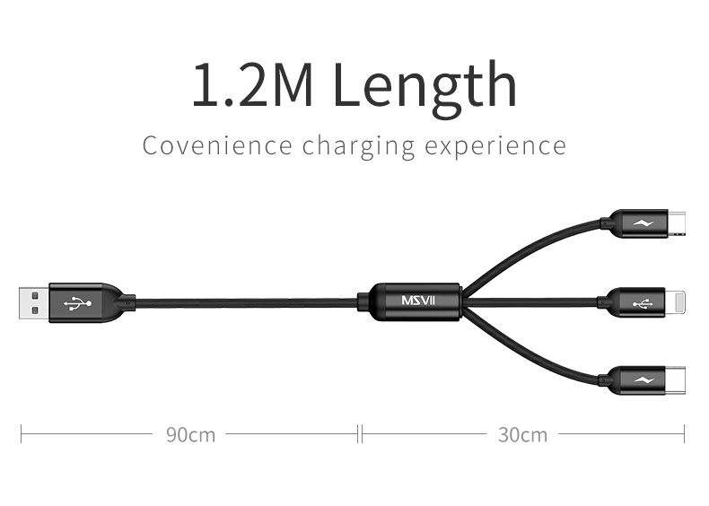 Msvii Original Phone Cable 3 in 1 Fast Charging USB Cables for iPhone Reinforced Type C for Samsung USB Micro Cables