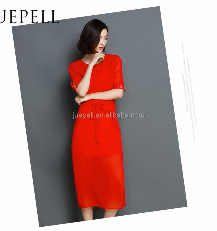 88c47e85459b6 أحدث التصاميم صور الموضة الشيفون فستان بأكمام قصيرة-فساتين عادية ...