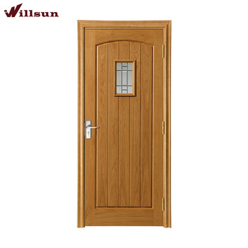 Oak Wood Single Arch Top Panel Prefinished Interior Door With Window Vision  Design