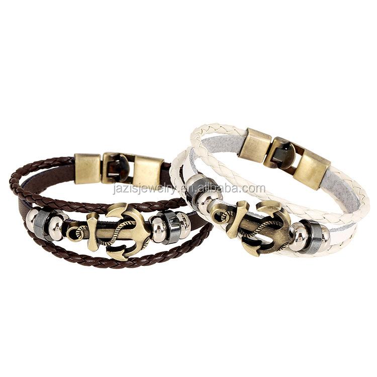 Fashion Jewelry Multilayer Alloy Anchor Bracelet for Women Leather Bracelets & Bangles Men Jewelry фото