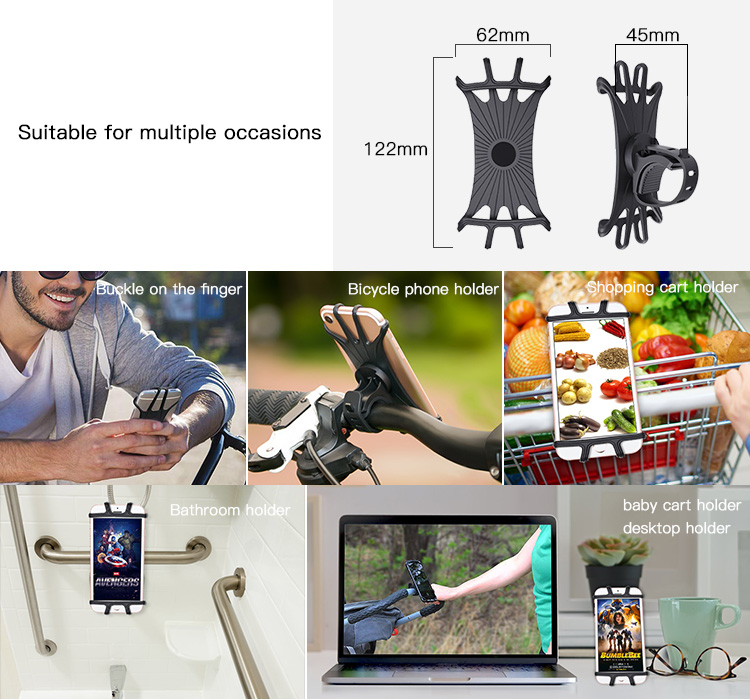 China Manufacture Silicone Motorcycle Finger Smartphone Mounts Wholesale Phone Holder For Bike
