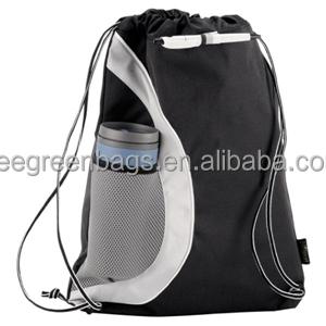 Front Water Bottle Holder Sling Drawstring Bag With Custom Printing Side Mesh Pocket Sport And Gym