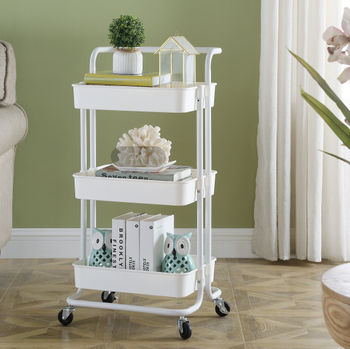 3 tiers stronger  laundry storage organizer cart with wheels
