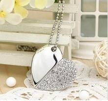 Jewelry USB flash drive 4GB-32GB Crystal necklace heart USB Flash 2.0 Memory Drive Stick S22pendrive