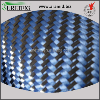 China Cheapest Price Carbon Blue Aramid Twill Blended Fabric For Car